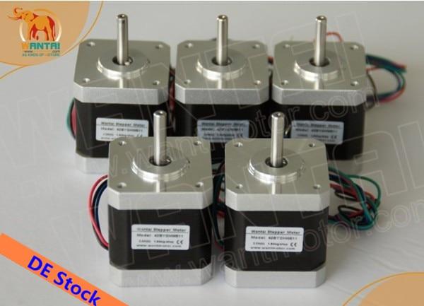 цена на [EU FREE]! Wantai 5PCS Nema17 Stepper Motor 42BYGHM810 0.9degree 4200g.cm 48mm 2.4A CE ROHS ISO 3D Printer Reprap