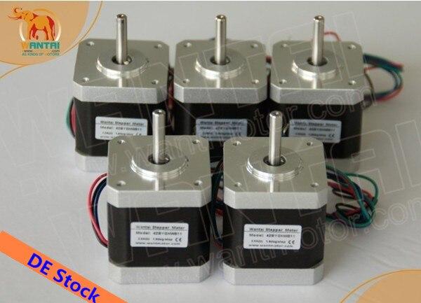 [Бесплатная доставка]! Wantai шаговый двигатель Nema17 42BYGHM810, 0,9 градусов, 4200 г. См, 48 мм, 2.4A, CE, ROHS, iso-3d принтер Reprap, 5 шт.