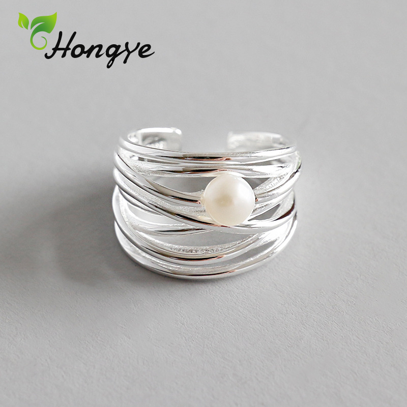 Hongye Silver 925 Ring Irregular Multi Layers Freshwater Pearl Ring Adjustable Finger Accessory Wedding Jewelry Gifts for Girls in Rings from Jewelry Accessories