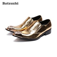 Batzuzhi Luxury Mens Shoes Pointed Iron Toe Gold Leather Dress Shoes Men Zapatos Hombre Formal Party and Wedding Shoes Men, US12 heinrich the new listing brand luxury genuine leather men shoes pointed toe hasp male wedding dress shoes zapatos de hombre