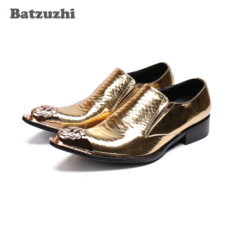 ... Online Baratos . Comprar Batzuzhi de lujo para Hombre Zapatos de dedo  del pie de oro Zapatos de vestir ... d9e338823e9