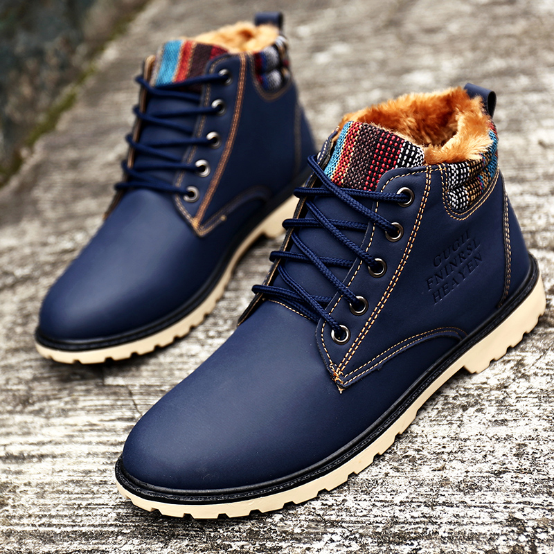 High Quality Fur Warm Mens Winter Boots High Top Waterproof Male Snow Boots Lace Up Blue Leather Mens Ankle Boots