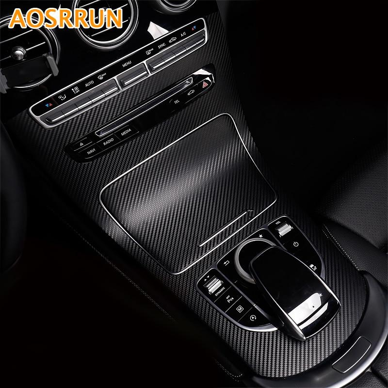 AOSRRUN Car Control Center Carbon Fiber Stickers Car Accessories For Mercedes Benz GLC300 GLC250 GLC220D GLC250D X253