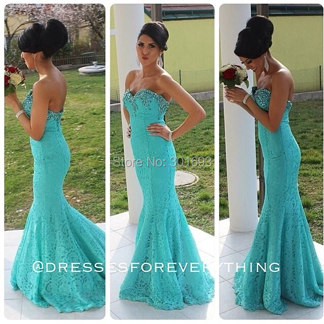 Oumeiya ONP130 Sweetheart Sexy Mermaid Turquoise Lace Prom Dresses ...