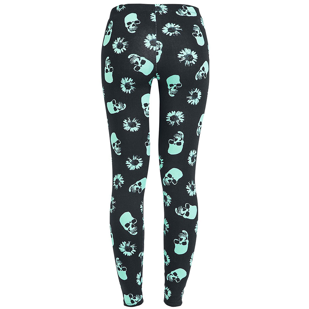 Women Skull Heads Leggings Skeleton & Flowers Printed Legging Fashion Sexy Skinny Pant