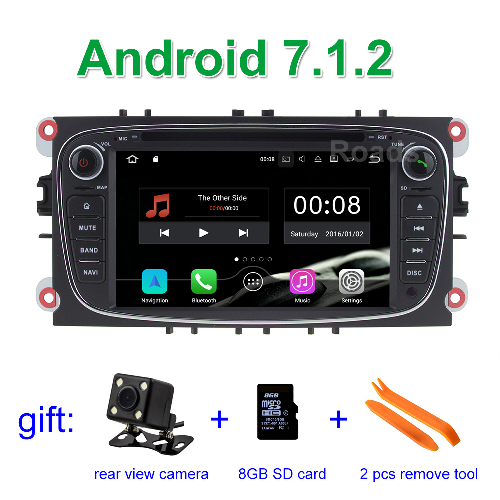 2GB RAM Android 7.1.2 Car DVD Player for Ford Mondeo Focus S C Max Galaxy Kuga with BT Wifi Radio