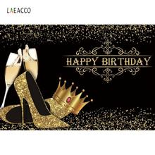 Laeacco Gold Crown Happy Birthday High Heels Fabulous Women Party Polka Dots Banner Portrait Photo Backgrounds Photocall Shoot