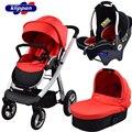 Super Quality High Landscape Baby Stroller 3 in 1 (Pushchair + Sleeping Basket+ Car Seat) Portable Fast-folding Bidirectional