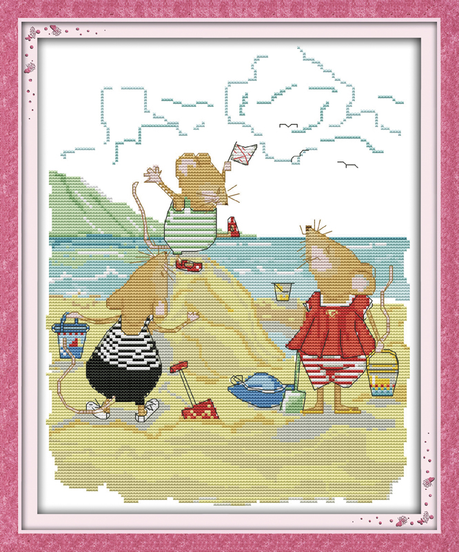 Mice on the beach  counted printed on fabric DMC 14CT 11CT Cross Stitch kitsembroidery needlework Sets Home Decor