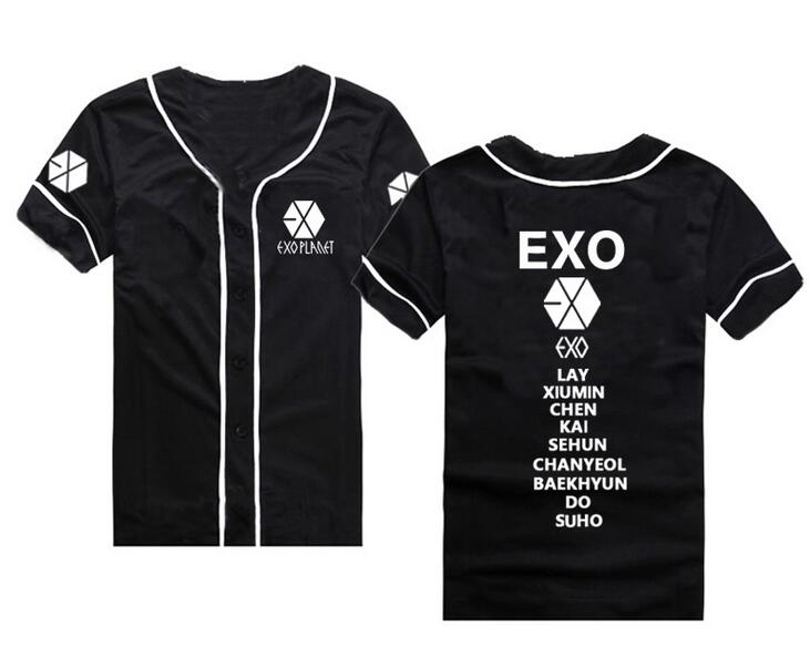 New arrival exo planet all member name printing baseball t shirt for summer  kpop exo L single breasted short sleeve t shirt-in T-Shirts from Women s ... a284301a10a9