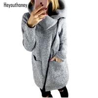 Autumn Winter Plus Size Warm Coats Fashion Side Zipper Pockets Female Sweatshirt Women Jackets Long Jacket Outwear oversized