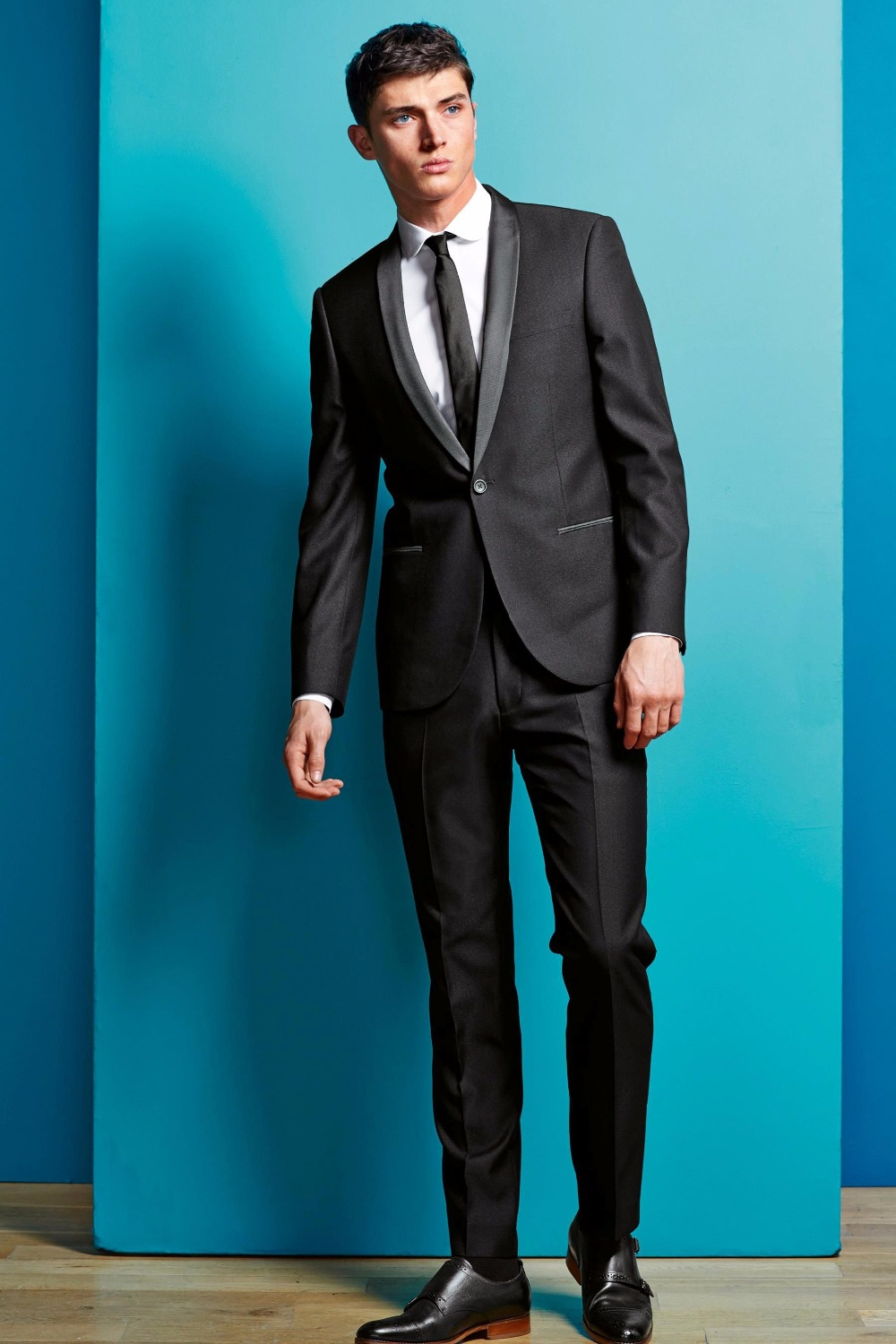 Latest Coat Pant Designs Black Shawl Lapel Formal Men Suit Skinny ...