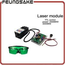 Livraison gratuite DIY 2500 mw 3000 mw laser module, DIY laser tête 2.5 w, BRICOLAGE 3 W lasers, 450nm bleu lumière laser, envoyer lunettes comme cadeau