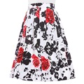 Women's Skirts Summer 2017 A-Line Fashion Empire Tutu Midi Skater Skirts Floral Print Vintage Plus Size Women Skirt Femme Saias