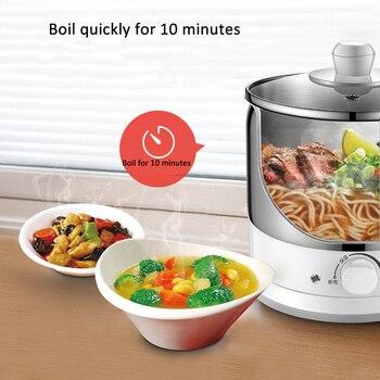 1.2L 600W Multifunktions Eletric Kochen Topf Hot Pot Edelstahl Liner Nudeln Reiskocher Lebensmittel Dampfer Suppe Topf 220V