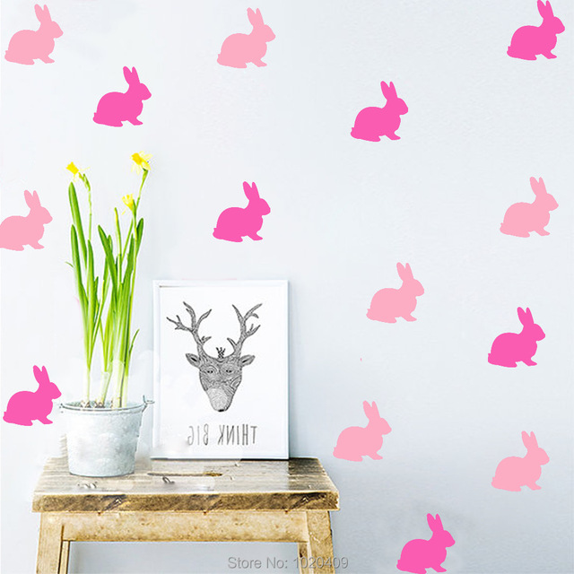 Home furnishing decorative exclusive direct wall sticker cartoon style cute rabbit pvc wallpaper children room decor
