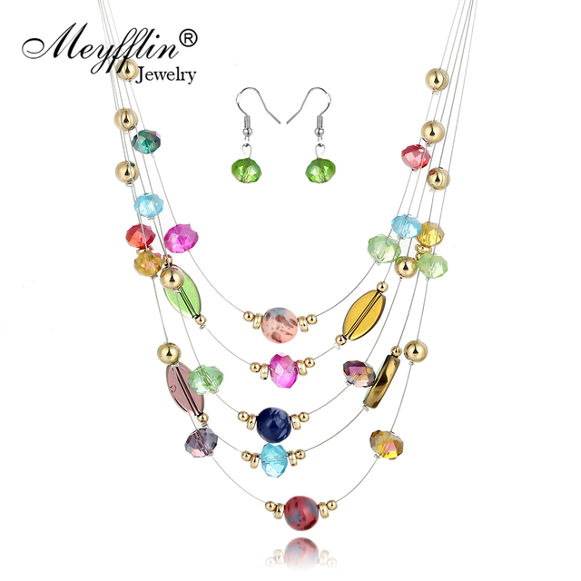 064d06c1d361 Collar y pendientes conjuntos de joyería de moda Cristal de Bohemia de  cuentas multicapa conjunto de