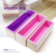 High Quality Eco-friendly 1200/900g Rectangle Silicone Soap Loaf Mold Wooden Box DIY Making Tools For Swirl