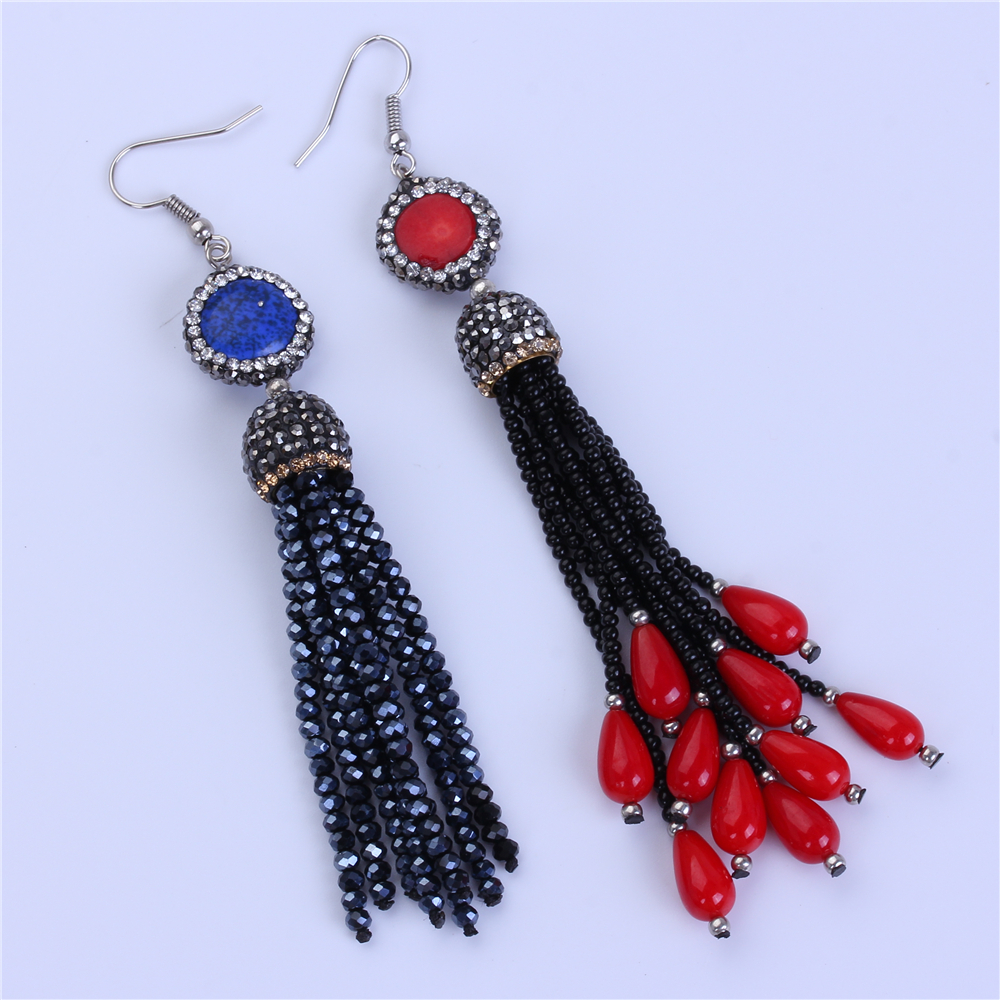 bohemia dark blue stone red coral with rhinestone