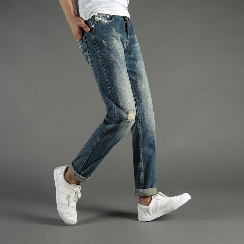 Italian Style Fashion Mens Jeans Blue Color Denim Ripped Jeans Men Buttons Pants DSEL Brand Slim Fit Retro Frayed Jeans Trousers patch jeans men slim skinny denim blue jeans ripped trousers famous brand dsel jeans elastic pants star mens stretch jeans w701