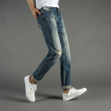 Italian Style Fashion Mens Jeans Blue Color Denim Ripped Jeans Men Buttons Pants DSEL Brand Slim Fit Retro Frayed Jeans Trousers цена 2017