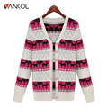 2016 New Fashion Deer Printing Knitted Cardigan Sweater Women's Design Outerwear Europe style Outwear Christmas Ladies Sweater