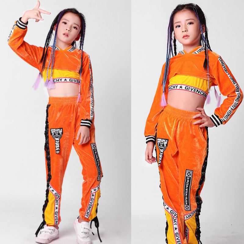 Home Reasonable New Girls Long Sleeve Bright Hooded Outfits Kids Modern Jazz Hiphop Dance Costume Top Pant 110-160cm