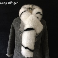 Lady Blinger new real blue fox scarves striped black white fur shawl and wraps crossover exculsive style long scarves