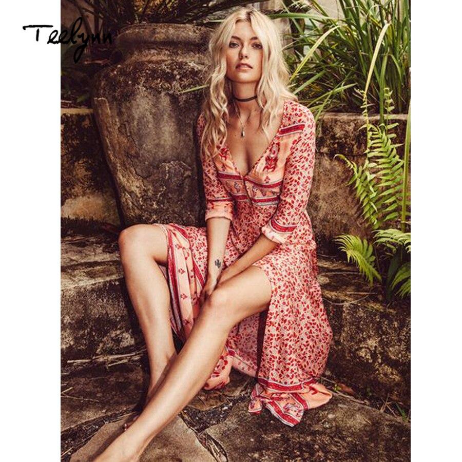 TEELYNN longue Boho robe rayonne 2019 imprimé Floral sexy col en v Hippie robes d'été chic plage femmes robe bohême wrap robes