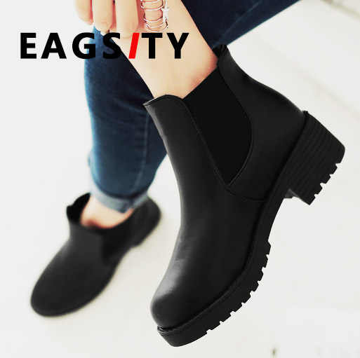 5ea1f81992a01 Detail Feedback Questions about Women Chelsea ankle short motorcycle boots  block heels platform slip on round toe fashion work winter snow boots on ...
