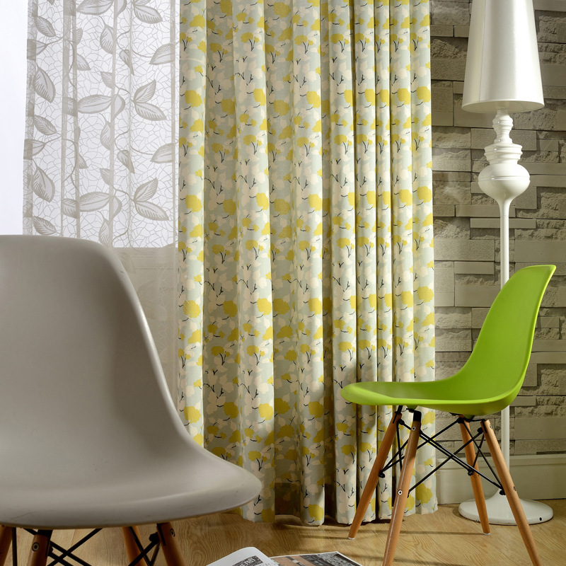 new arrival customized polyester linen cotton yellow flower printing door decoration window groment  curtain fabric
