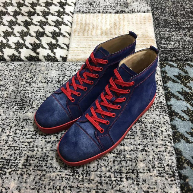 de14ba533618 cl andgz Man High Cut Shoes Red Rivets Lace Up Outdoor Sports Fashion Party  Red bottoms Shoes Sneakers leather casual Flat 2018