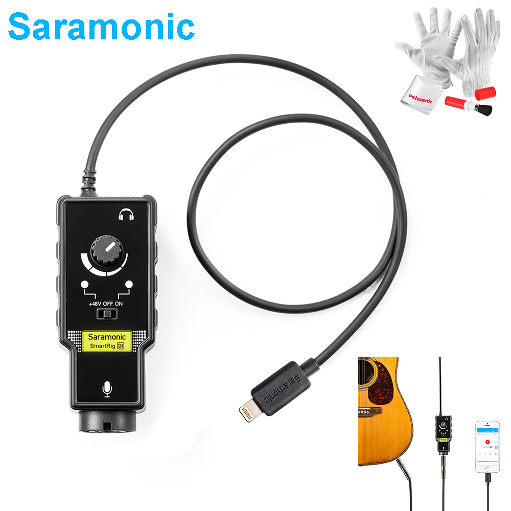 Saramonic SmartRig-Di XLR Microphone & 6.3mm Guitar Interface with Phantom Power Preamp Lightning Connector for iPhone X 8Plus 8 saramonic 2 channel audio mixer preamp microphone adapter dual xlr 6 3mm 3 5mm inputs for iphone 7 smartphone guitar dslr camera