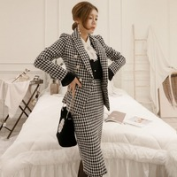 2019 Fashion new casual office OL women's temperament Slim houndstooth long sleeved blazer + split bag hip skirt suit TB190309