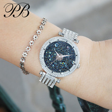 Hot Sale Famous PB Brand Princess Butterfly All Stars Luxury Women Swarovski Crystal Watch Lady Sapphire Rhinestone Wrist Watch hot sale famous bp brand princess butterfly lady lucky clover watch austrian crystal automatic self wind wrist watch
