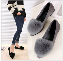 GUIxianglai Fashion really Rabbit hair keep warm shoes pointed toe women flats woman flat shoes ballet flats for ladies