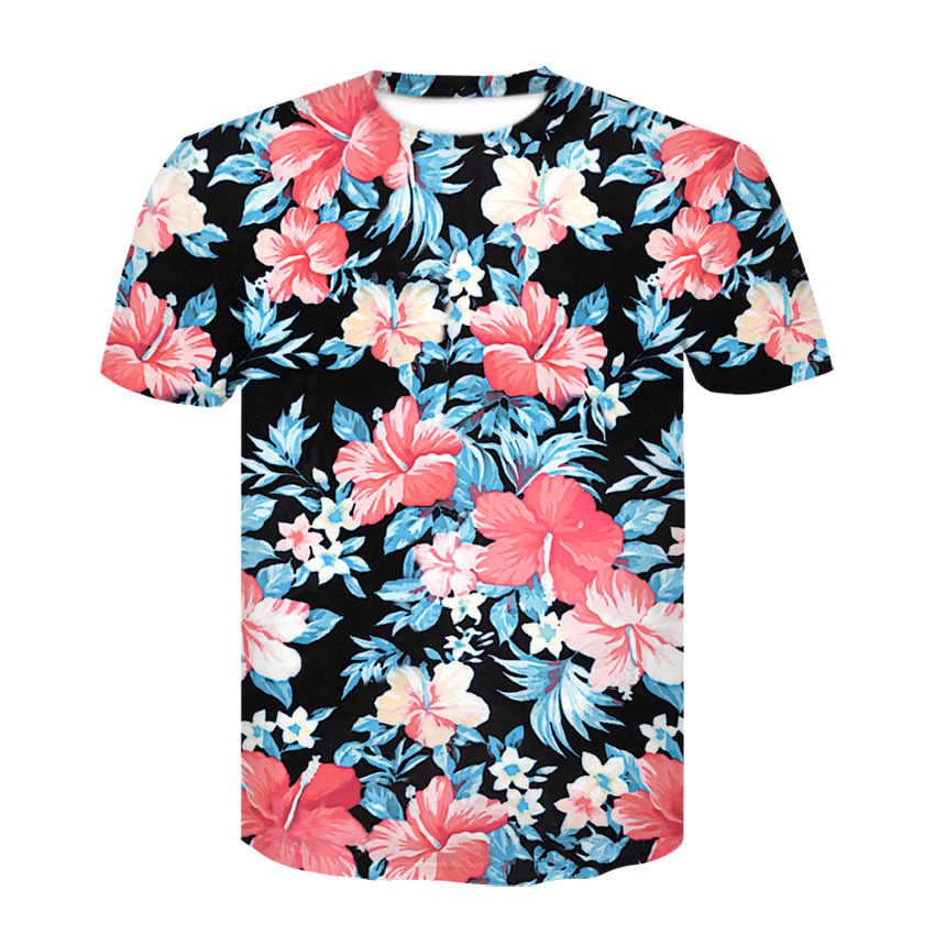 Devin Du 2019 Baru Kedatangan Hiphop 3D T Kemeja Merah Bunga Daun 3D Dicetak T-shirt Lengan Pendek Wanita Pria T atasan Kemeja Musim Panas