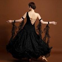 High specification black big pendulum modern dance dress special elegant standard ballroom/waltz/tango dance competition dress