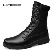 LINGGE 2019 Large Size Genuine Leather Boots Men Military Desert Boots Shoes Men Ankle Boots Botas Tacticos Zapatos zsuo brand genuine leather men boots cow suede leather boots men military desert ankle boots brown fashion men shoes botas hombr