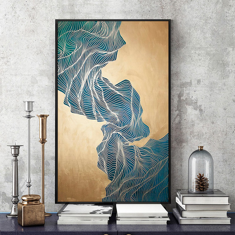 Modern simple abstract print ink gold lines Canvas ...