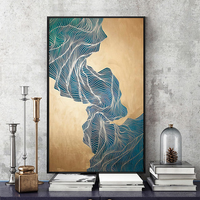Modern simple abstract print ink gold lines canvas painting picture wall art wall pictures for living