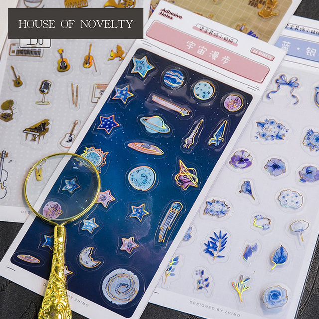 Blue Space Circus Troupe Golding Decorative Washi Stickers Scrapbooking Stick Label Diary Stationery Album Stickers