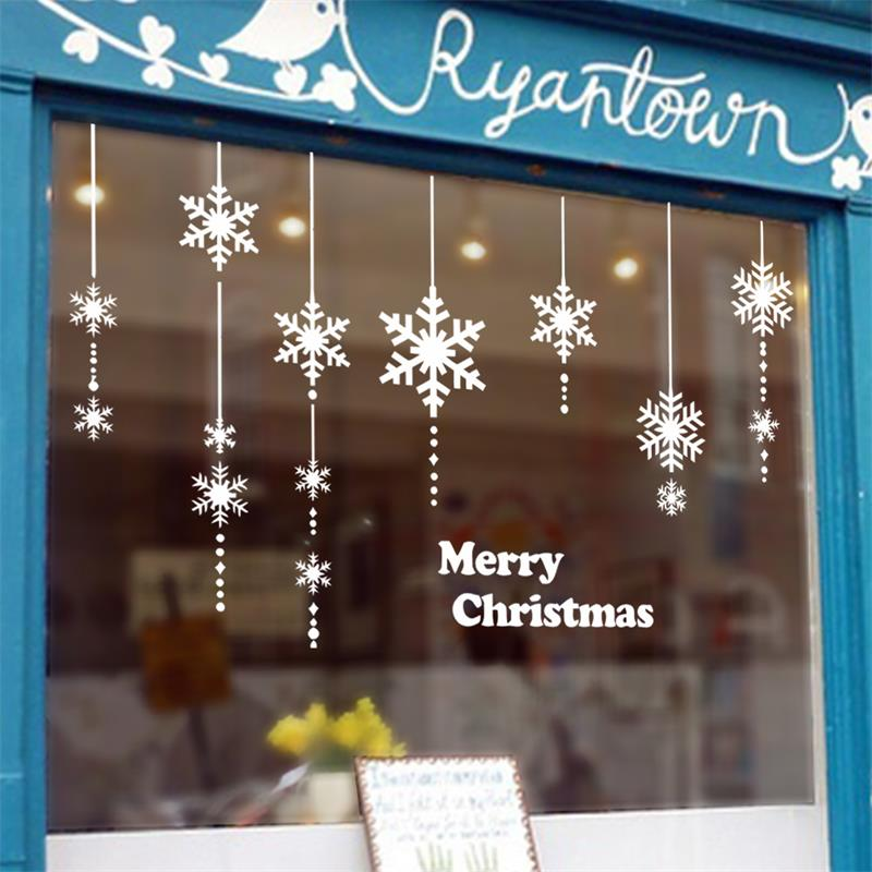 merry christmas snowflake hanging chain store window glass wall sticker xmas47 new year party decoration festival - Party Decoration Stores