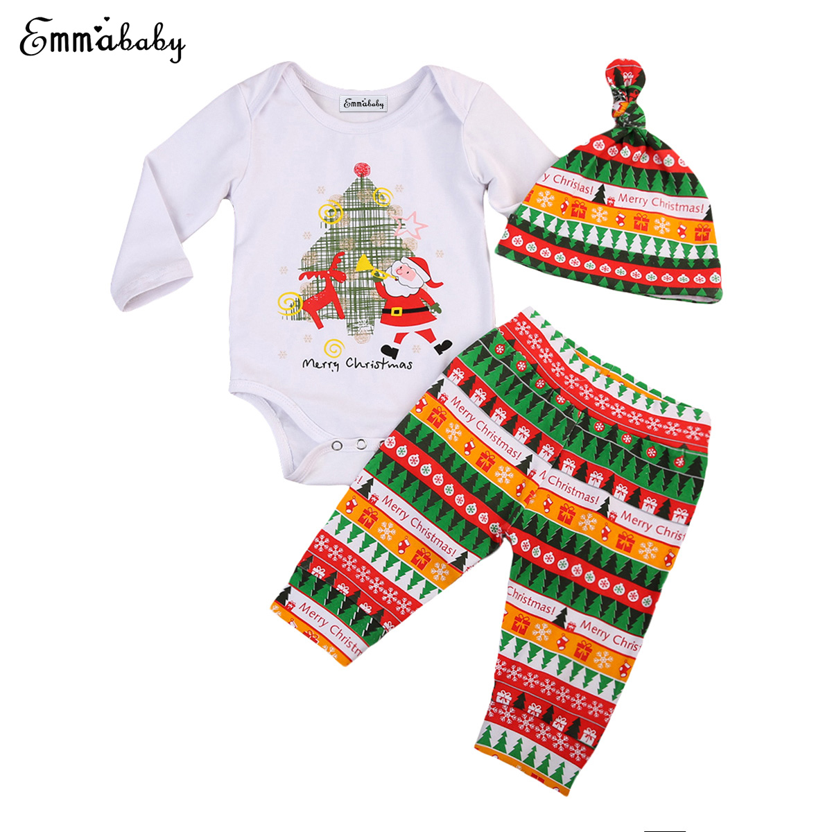 2017 Newest Arrivals Xmas Clothes Set Newborn Infant Toddler Baby Boys Girls Santa Romper Long Pants Outfit Casual Clothes Set fashion 2pcs set newborn baby girls jumpsuit toddler girls flower pattern outfit clothes romper bodysuit pants