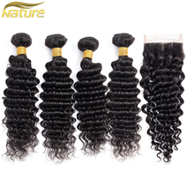 hot deal buy naturehere brazilian deep wave bundles with closure human hair weave bundles with closure 3 4 bundles with lace closure nonremy