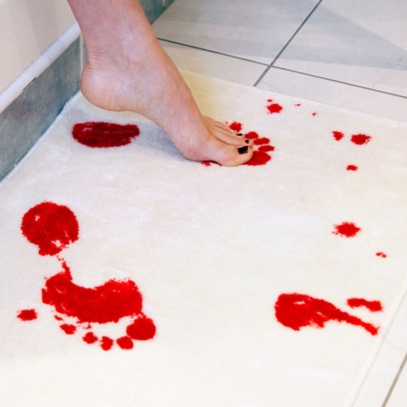 AOOK Blood Bath Bath Mat British Blood Footprint Anti-skid Floor Mat Creative Bloodstain Carpet Bathroom Suction Type