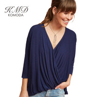 Komoda Women Wrap V Neck Three Quarter Sleeve T Shirt Casual Tops Fashion Shirts Loose T