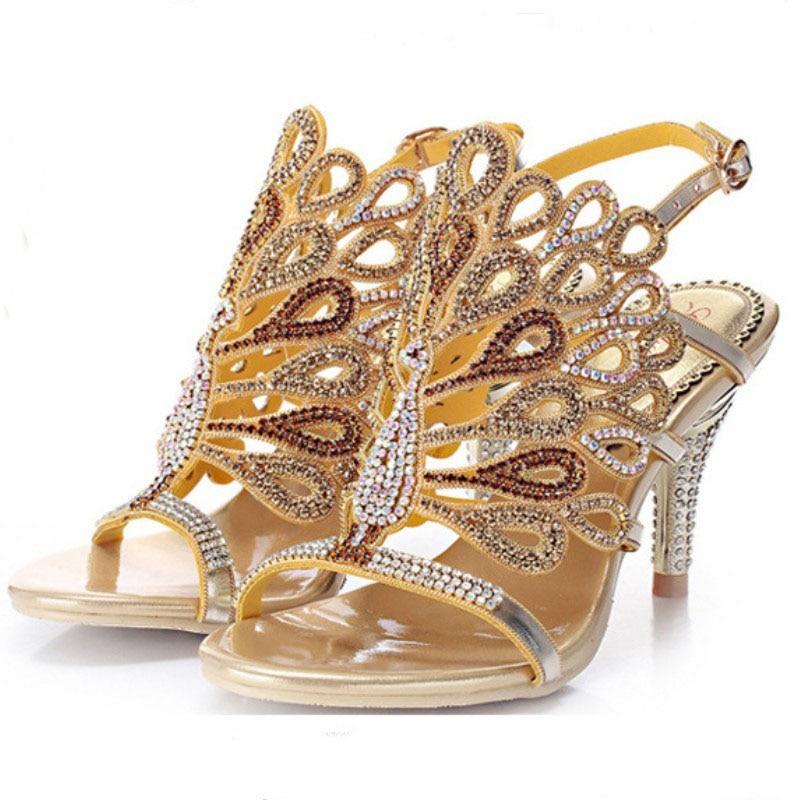 ФОТО plus size 35-43 luxury handmade women sandals gold silver black red blue rhinestone crystal flower cut out kitten heel wedding