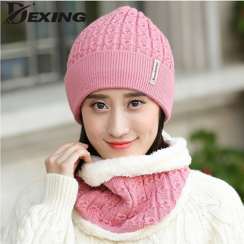 Women Beanie Fashion Solid Fur Wool Lining Thick Warm Knit Winter Hat Cap Scarf Sets Skullies velvet Bonnet ring scarf skullies hot sale candy sets color pointed hat knitting hat sets hat cap 1866951
