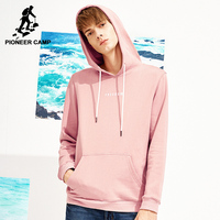 Pioneer Camp New Spring Hooded Sweatshirt Men Brand Clothing Casual Fashion Hoodies Male Quality Sweatshirt Pink